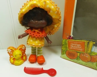 Orange Blossom with Marmalade, Strawberry Shortcakes Friend with Original Box, 1980s Kenner