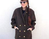 Vintage BROWN Peacoat MILITARY Oversized Winter Fall Coat Double Breasted Coat