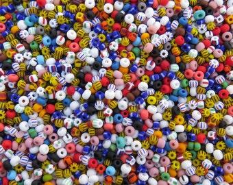 6/0 Matte Opaque Stripes and Solids Mix Czech Glass Seed Beads 20 Grams (CS95)