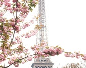 Paris Photography, Eiffel Tower Paris Je t'aime, Paris in the Springtime, Pink Cherry Blossoms, Paris Home Decor - Blush Pink