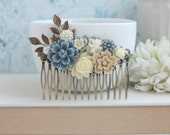 Dusty Blue Flower, Brown Sakura, Ivory Bouquet, Pearl, Shabby Flower Collage LARGE Hair Comb. Bridesmaids Comb, Large Bride Wedding Comb.