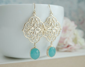 Gypsy Art Deco Filigree Chandelier Oval, Mint Gold Plated Glass Drop Earrings. Maid of Honor. Bridesmaids Gifts. Boho Summer. Kite Shield