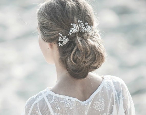 Bridal Hair Pins , Pearl Hair Pins , Crystal Accented Hair Pins , Bridal Hair Accessories , Natural Ivory Pearl Pins