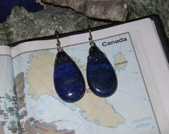 Rich Deep Blue Lapis Lazuli Titanium Ear Wires Hooks Dangle Earrings Earings Hypo Allergenic