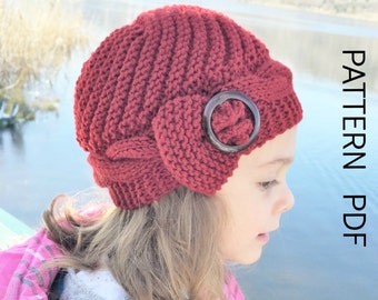 Knitting PATTERN hat Instant Download Knit hat pattern- 2- 6 Years Old  Girl Hat  Digital  Cable Knit hat Pattern - Cloche Hat Knit Pattern