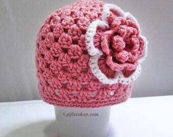 Crochet Hat Pattern, Crochet Beanie Pattern, Baby Crochet Patterns, Girls Hats, Flower Hat, Baby Girl Hat, Easy Crochet Patterns, PDF n63