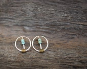 Minimal Rose Gold Fill and Hematite Stud/Post Earrings
