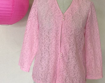 Vinage Lace Blouse - 1960s 1970s Vintage Blouse - Pink Sheer Lace Top - Romantic - Dainty - Lightweight Jacket - Pretty Buttons - 36 Bust -