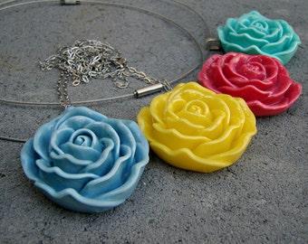 Rose Garden Resin Necklace Choker Pendant