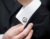 Shamrock Cufflinks -  Sterling Silver Shamrock Cuff Links -  Wax Seal Men's CuffLinks - Wedding CuffLinks Groom