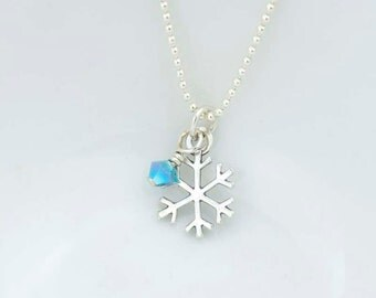 Snowflake Pendant Necklace with Crystal - Sterling Silver Frozen Snowflake Charm Necklace - Choose Crystal Color
