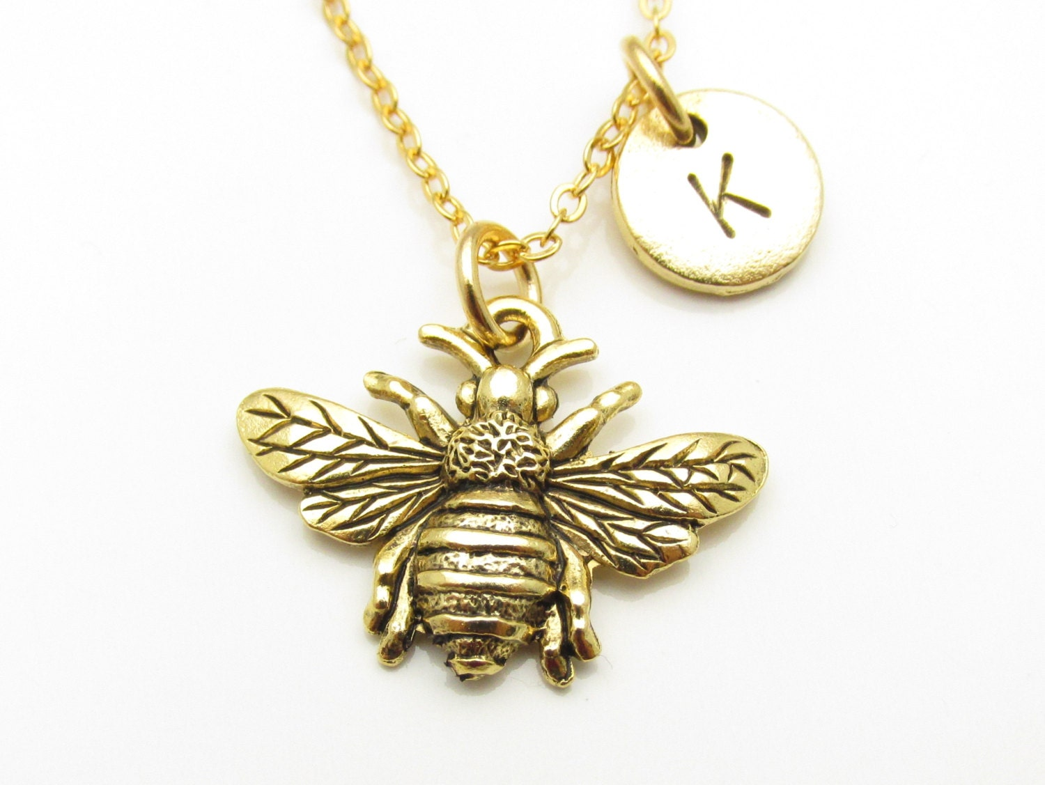 Bee Necklace Bumblebee Charm Antique Gold Bee Necklace