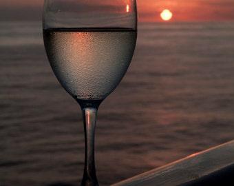 Fine Art Photograph, White Wine in Sunset