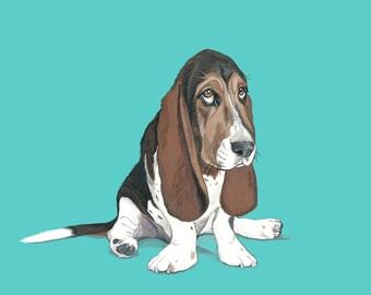 Custom Pet Portrait - Hand Painted 8x10 inch Gouache illustration pet from Photo- Birthday Gift-  Wedding Gift -  Anniversary gift