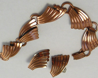 Vintage Copper Bracelet & Earrings Southwestern Bell Trading Post