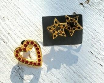 Rhinestone Earrings Hat Lapel Pin Lot Heart Stars Vintage 90s Avon Jewelry