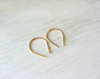 Tiny hoop earrings,Small upside down earrings,Gold filled teardrop earrings,Simple Hoops,Minimalist jewelry