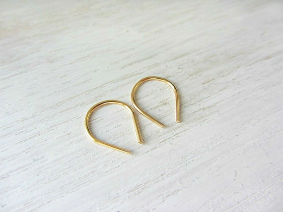 Tiny hoop earrings,Small upside down earrings,Gold filled teardrop earrings,Simple Hoops,Minimalist jewelry