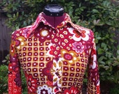 Bobbie Brooks Shirt 1960s 1970s Mod Shirt Flower Power Hippie Psychedelic Shirt Op Art Shirt Bohemian Boho Festival Pointy Collar