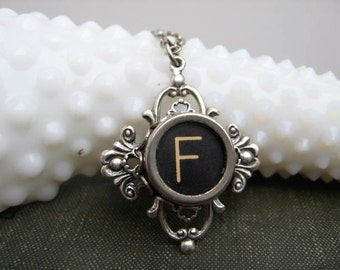 Typewriter Key Jewelry - Necklace - Letter Initial F