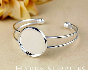 2Pcs Nickel Free - High Quality 25mm Cabochon Silver Plated Bangle Bracelet  (06254-S)