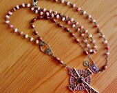 RESERVED for Christian - Reclaimed vintage gemstone and Sarah Coventry cross pendant necklace rosary upcycled repurposed extra long jewelry