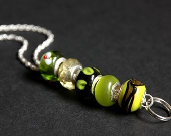 Beaded Badge Holder. Lime Green Badge Lanyard. Olive Green ID Lanyard. Handmade Nurse Lanyard. Badge Necklace. Lampwork Glass Lanyard.
