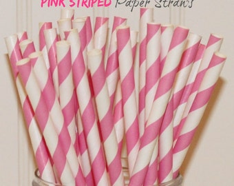 Paper Straws, MADE IN USA, 25 Pink Striped Paper Straws, Pink Paper Straw, Bridal Shower Paper Straws, Girls Birthday Party Paper Straws