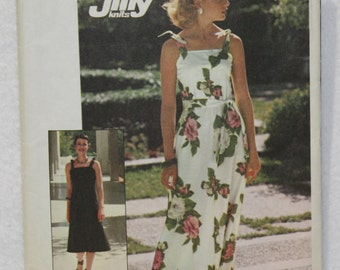 70's  Vintage Long or Short Knit Dress Simplicity Sewing Pattern 7519 Size Small (8-10)