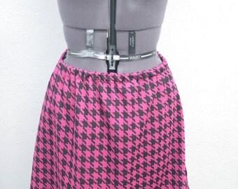 Hot pink houndstooth/ dogtooth elasticated jersey mini skirt A-Line o.o.a.k handmade size M-L UK 12-14-16