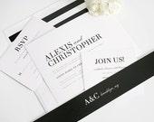 Modern Wedding Invitation, Bold, Black, White, Romantic, Urban Wedding Invitation - Urban Glamour Design - Sample Set