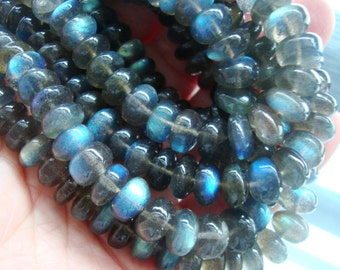 8-9x4-6mm, Full Strand, 30% off, AAA Fiery Blue Flashing Labradorite Smooth Rondelles, n16-s1