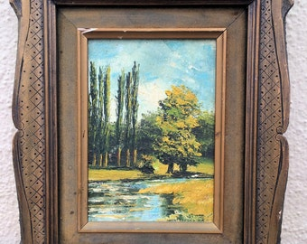 Vintage LANDSCAPE OIL PAINTING, oil painting, landscape painting, trees, grassy field, stream, creek, green, yellow, amateur art