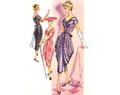 RARE 50s Cocktail Gown Pattern McCalls 3957 side draped skirt wrap bodice sheath dress Vintage Sewing Pattern Size 14 Bust 34 inches