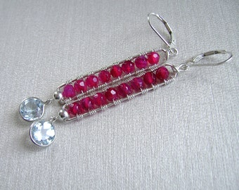 Ruby Agate Earrings, Blue Topaz, Sterling Silver, Wire Wrapped Ruby Agate Bars, 921