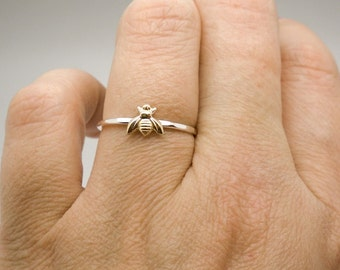Tiny bee ring - Sterling silver and tiny gold brass bee ring - stacking ring - knuckle ring - midi ring