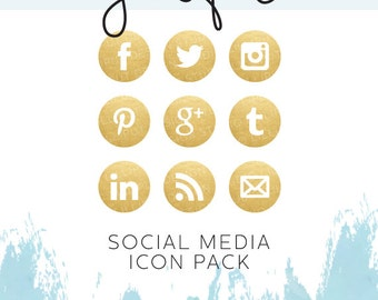 Gold Foil Social Media Icon Pack