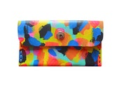 Neon Leather Wallet, Colorful Coin Purse, Rainbow Wallet, Leather Pouch, Small Bag, Abstract Art Bag, Leather Wallet, Business Card Holder