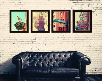 Nashville print set of 4 Coca Cola sign photography southern art red and aqua wall art Nashville Tennessee Industrial decor  Nashville art
