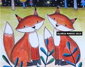Foxy Rendez vous : Matted Print of a Folk art Painting -whimsy, Wall Art, Fox illustration by Gloria Marco