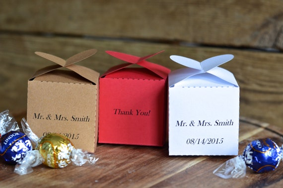 Custom Printed Heart Topped Favor Boxes in white, red, or kraft with YOUR name and date!