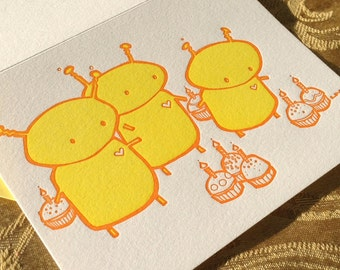 Cute Robots and Fancy Cupcakes - OUOU Illustration - Handmade Letterpress Card