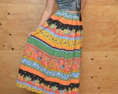 Reserved For Basil Vintage 70's Skirt Maxi Sweet Prairie Red, Orange, Green & Blue Floral Striped Print SZ M