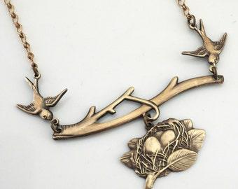 Vintage Necklace - Bird Necklace - Twins Jewelry - Brass Necklace - Nest Jewelry - Chloes Vintage Jewelry - handmade jewelry