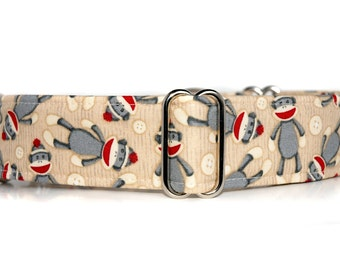 1.5in Martingale Dog Collar,,, Silly Sock Monkeys,, Sock Monkey Martingale Collar