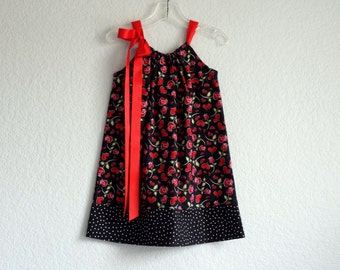Girls Valentines Day Dress - Red Roses and Hearts on Black - Roses and Polka Dots Sun Dress -  Size 12m, 18m, 2T, 3T, 4T, 5, 6, 8, or 10