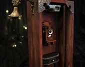 Music Box: PHONE BOOTH. Musical Installation By Fae Factory Visionary Artist Dr Franky Dolan (Diorama Fairy Room Steampunk Dollhouse House)