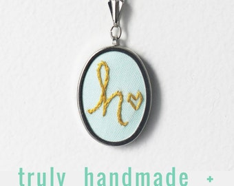 Personalized Teen Girl Gifts. Initial Necklace. Monogrammed Jewelry. Embroidered Initial Pendant. Letter Necklace. Modern Hand Embroidery.
