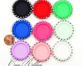 9~18pc Round Rhinestone Matte Cameo Setting 25mm Inner Resin Cameo Cabochon (17cameo)