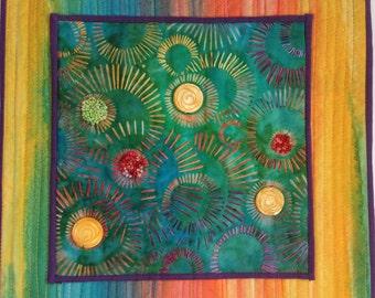 Batik Art Quilt, Wall Art, Yellow Blue Green Orange, Small Quilt, Abstract Art, Embellished Quilt, Quiltsy Handmade
